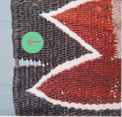 Navajo rug internal selvedge cord