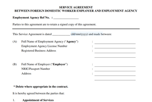 Sample Service Agreement between Domestic Worker Employer and Maid Agency