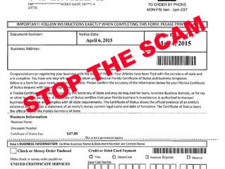 SCAM Alert!!!! Business Registration Services