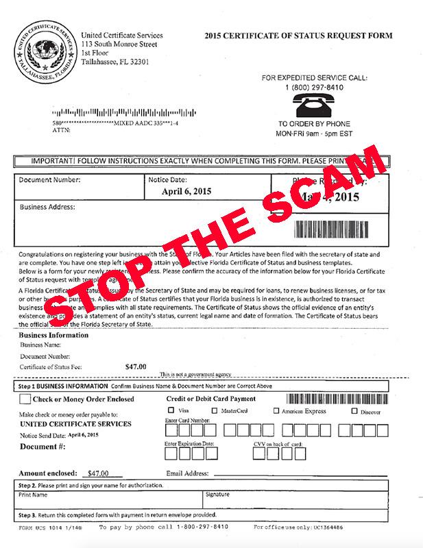 Beware New Business Owner: SCAM Notice!!
