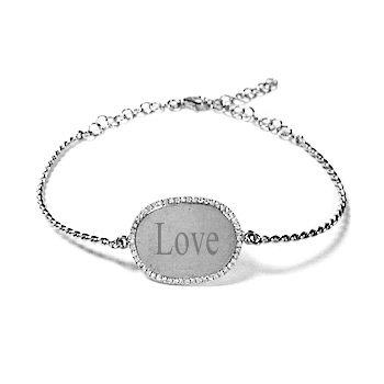 14 KT I.D. Bracelet with Diamonds
