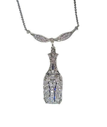 Antique Style Diamond Sapphire Necklace