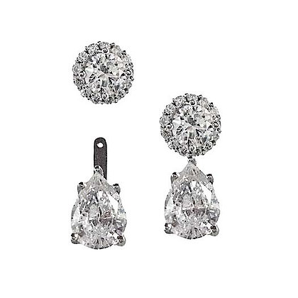 Stackable Diamond Pear Studs