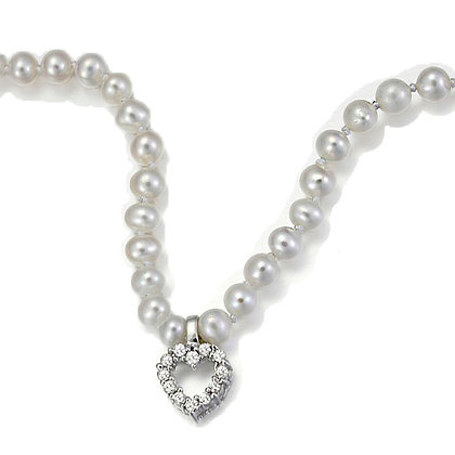 Fresh Water Pearl Necklace with Diamonds