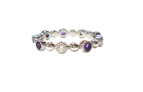 Amethyst Diamond Stackable