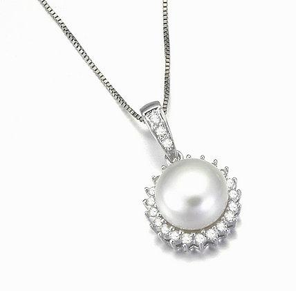 Halo Button Pearl Pendant