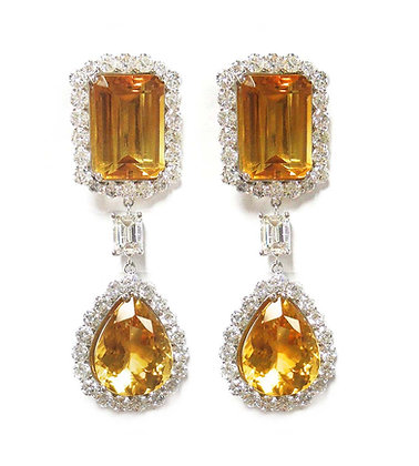 One Of A Kind Citrine & Diamond Earrings