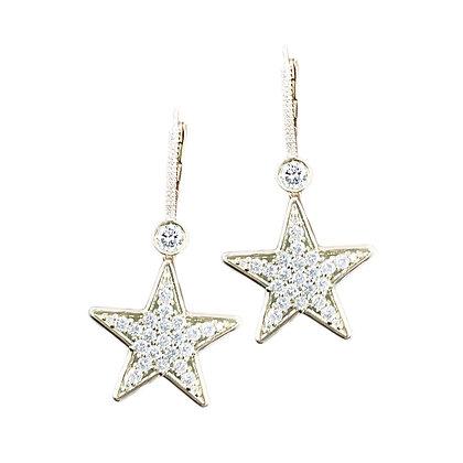 Golden Star Diamond Danglers