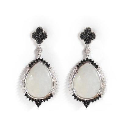 Red Carpet Custom Diamond Earrings with Moonstones