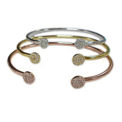 Sterling Silver Open Pave Disc Bangle