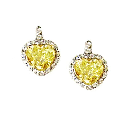 Fancy Canary Heart Shape Earrings
