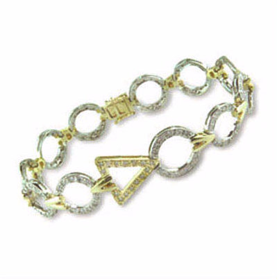 Geometric Two Tone Bracelet with Diamonds