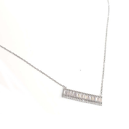 SS Baguette Bar Necklace With Cubics