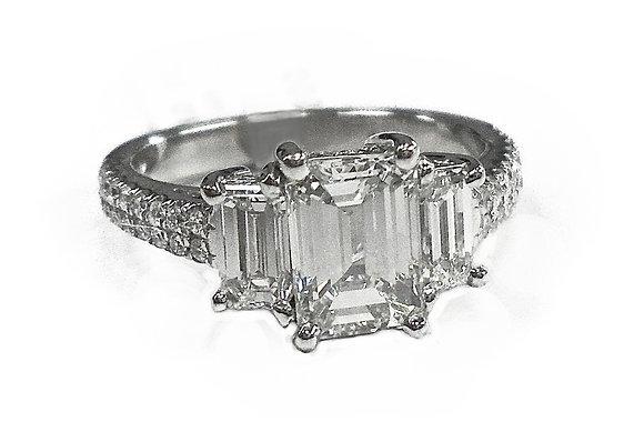 Emerald 3 Stone Ring
