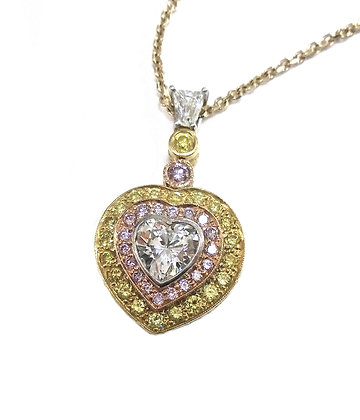 Canary & Pink Heart Pendant
