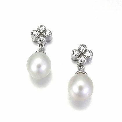 Diamond Cluster Drop Pearl