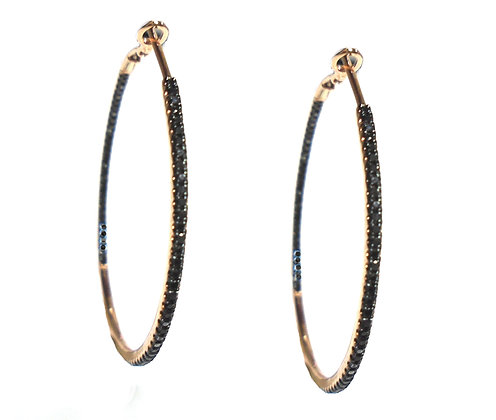 Rose Gold Hoops with Black Diamonds