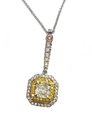 Radiant Drop  Pendant w/Canary Diamonds and Pinks