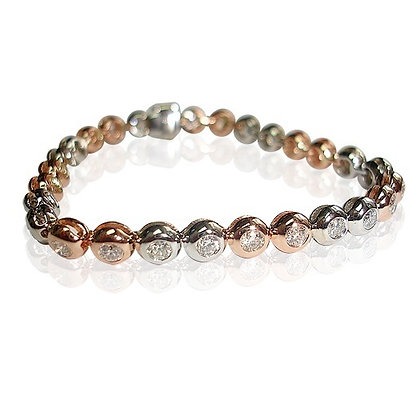 Two Tone Bez-Set Diamond Bracelet