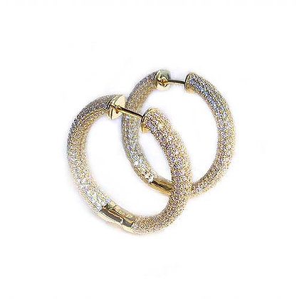 14kt Gold Hoops- Pave Style