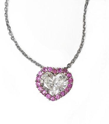Pink Sapphire & Diamond Heart