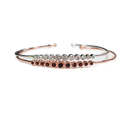 Garnet and Diamond Bangles