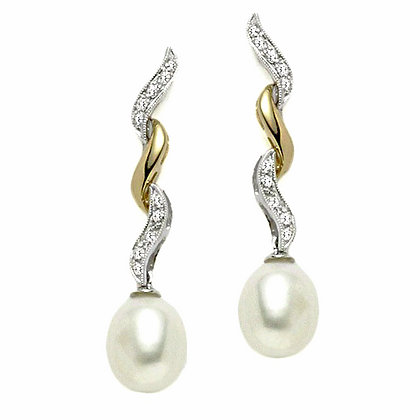 Ziggy Zag Drop Pearl Bridal Earring