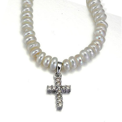 Fresh Water Pearl Necklace with Cross