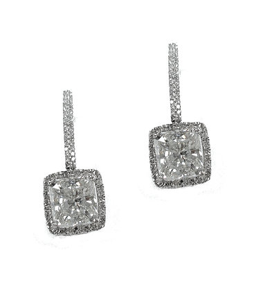 14kt  Gold Radiant Diamond Earring