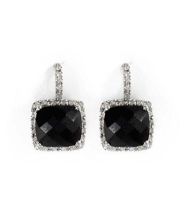 Black Onyx Diamond Halo Earring