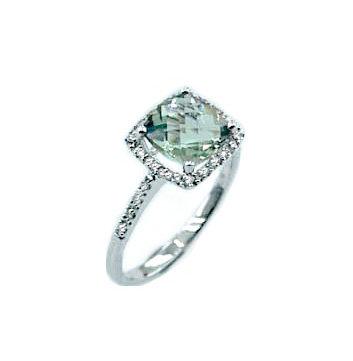 Green Quartz Halo Ring