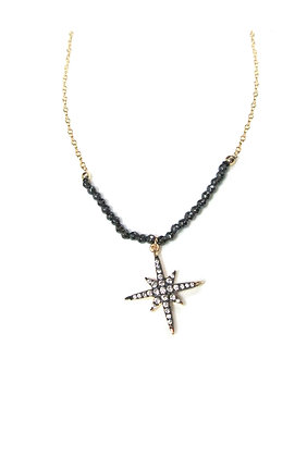 SS Black Beaded Star Pendant Necklace