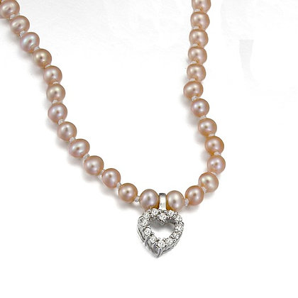 Pink Fresh Water Pearl Necklace with Diamond Heart