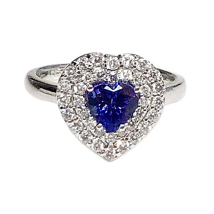 Heart Shaped Tanzanite With Halo