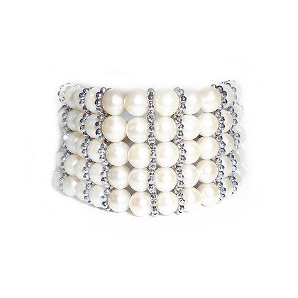 Five Strand Natural Pearl Bracelet