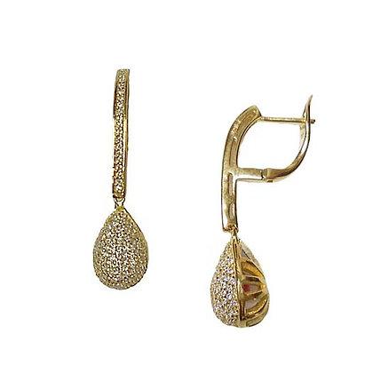 SS Pave Drop Earrings