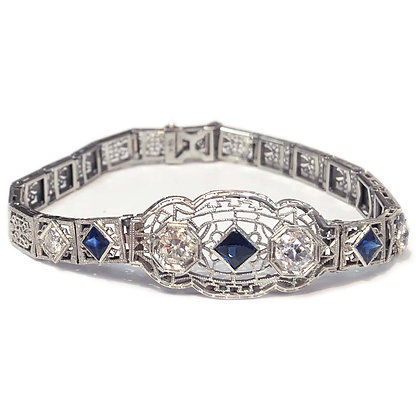 Antique Diamond and Sapphire Bracelet