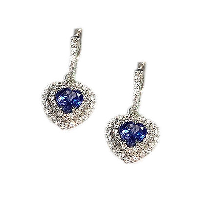 Heart Shaped Tanzanite Earrings