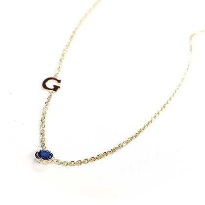 Initial and Birthstone Necklace