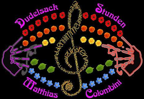 Logo Dudelsack Stunden auf schwarzem Hin