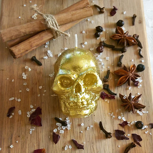 Glittery Gold Skull Candle - prosperity head work.