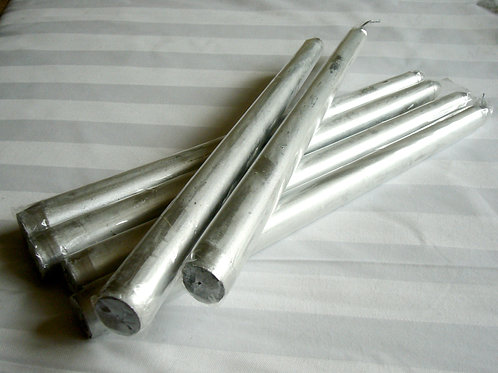 Silver Taper Candle - prosperity & wealth.