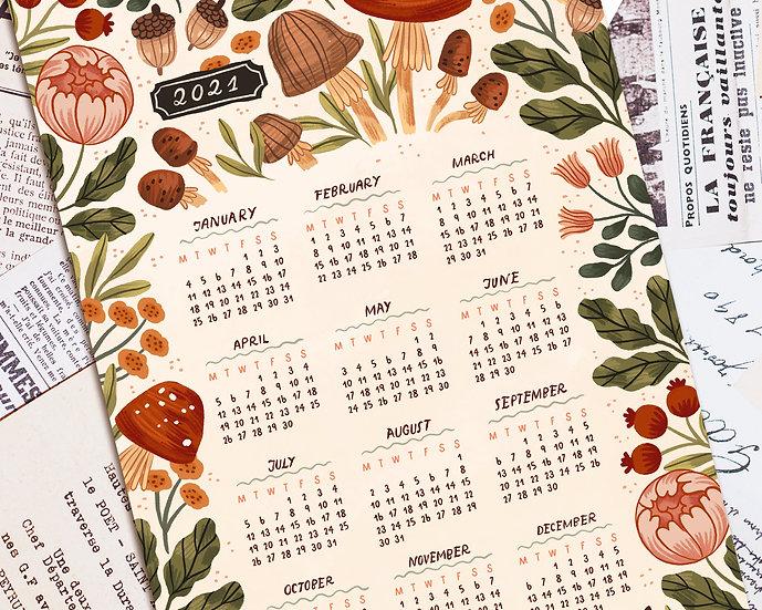 2021 Printable Floral Autumn Inspired Calendar ~ beige