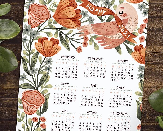 2021 Printable Birdie & Florals Calendar