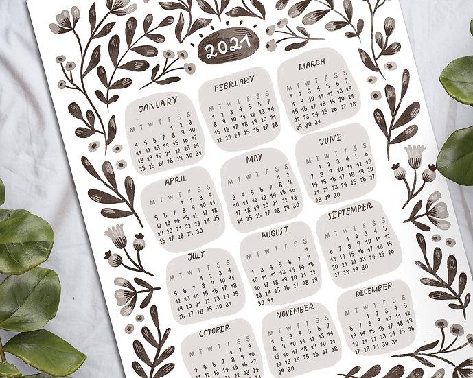 2021 Printable Monochrome Floral Calendar