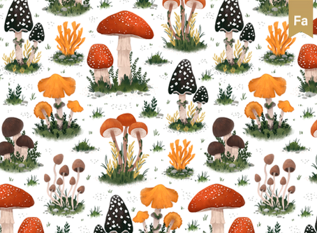 My Fungi Pattern just got featured in Behance's Fashion Gallery