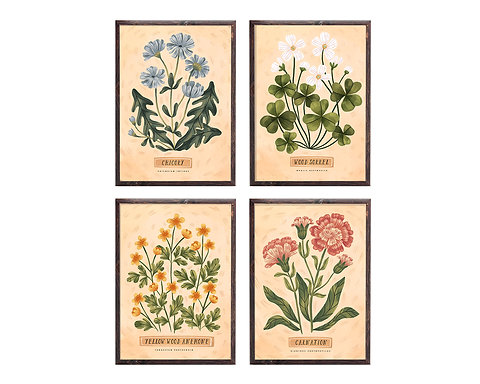Pack of 4 ~ Vintage Botanical Illustrations ~ personalized