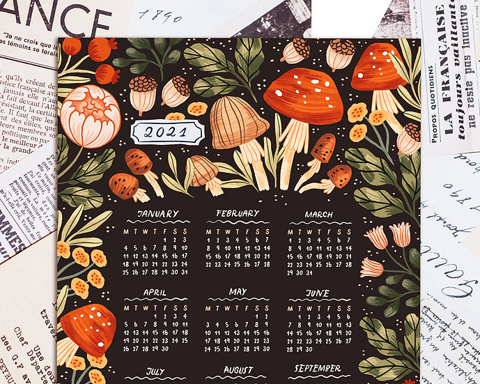 2021 Printable Floral Autumn Inspired Calendar ~ dark