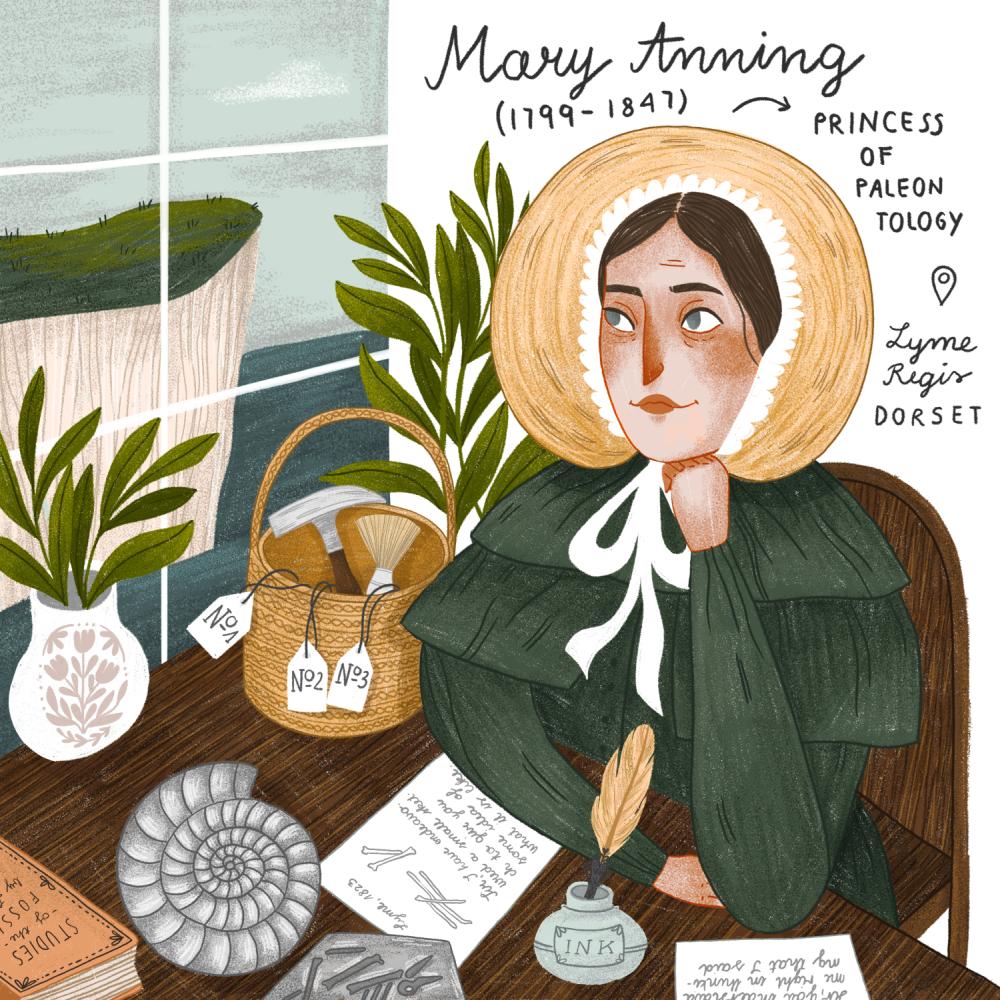 Mary Anning portrait illustration by iz.ptica