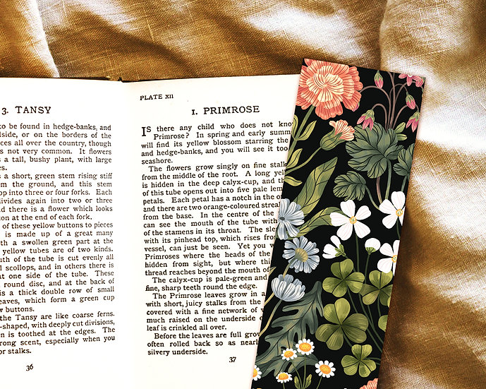 Herbarium Floral Bookmark ~ black